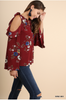 V-neck floral top with open shoulders - Burgundy