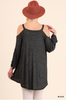 Cold Shoulder tunic with shirring sleeves - black