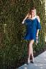 Fancy Cold Shoulder Dress - Dusty Blue