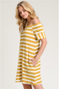 Off The Shoulder Stripe Dress - Mustard