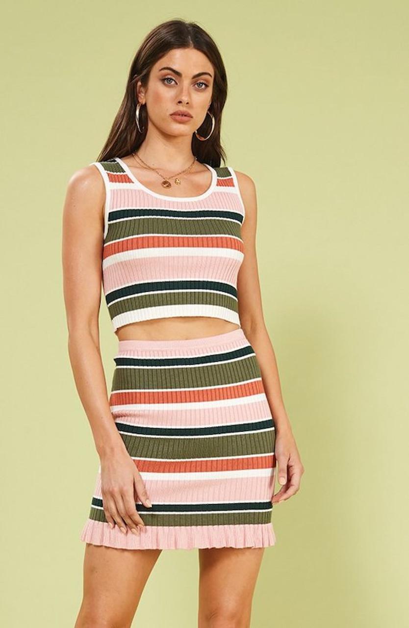 67e6d232bed40c Open Air Stripe Crop Top - Multi Colors