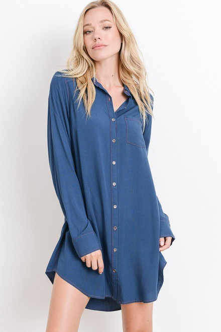 Dawn Shirt Dress - Teal
