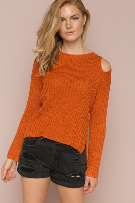 Carmen Hi Low Sweater - Rust