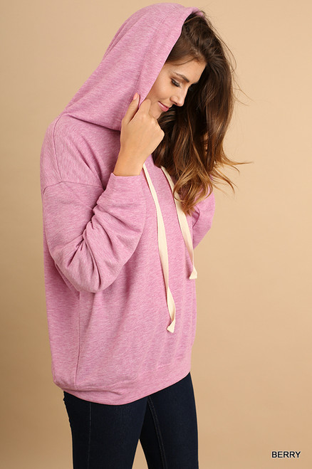 Long Sleeve Hoodie Top - Pink Berry