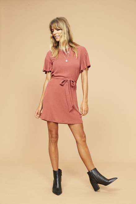 Dolly Tee Dress - Brick Red