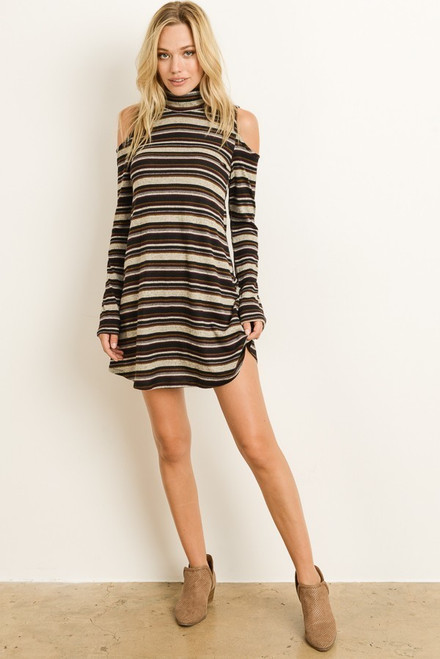 Sara Turtleneck Dress - Taupe/Black