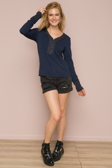 Helen Long Sleeve Top - Navy