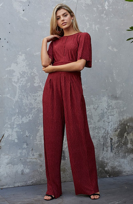 Crinkle Wide Leg Pant - Plum Red