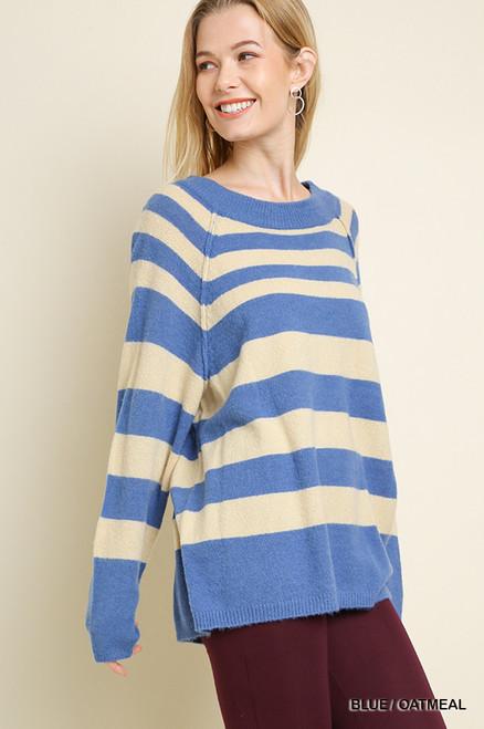 Julie Striped Sweater - Blue/Oatmeal
