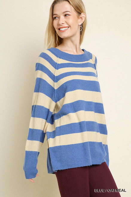 Julie Striped Sweater - Blue/Oatmeal