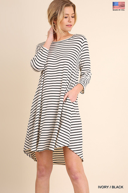 Juno Pocket Tee Dress - Ivory White/Black