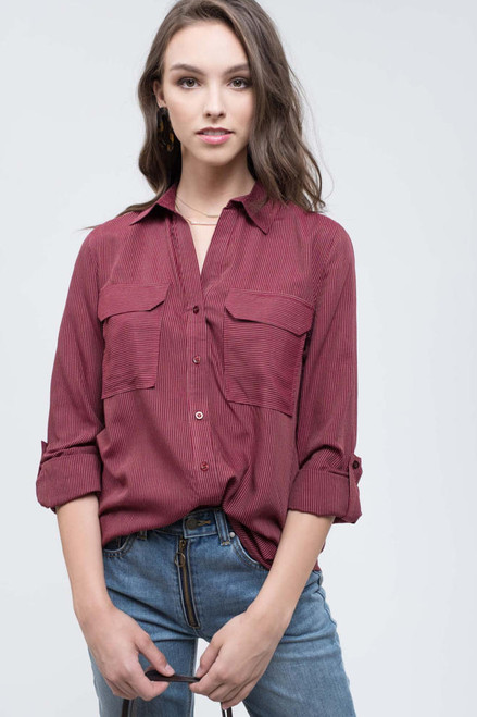 Silvia Button Up Shirt - Burgundy/Khaki