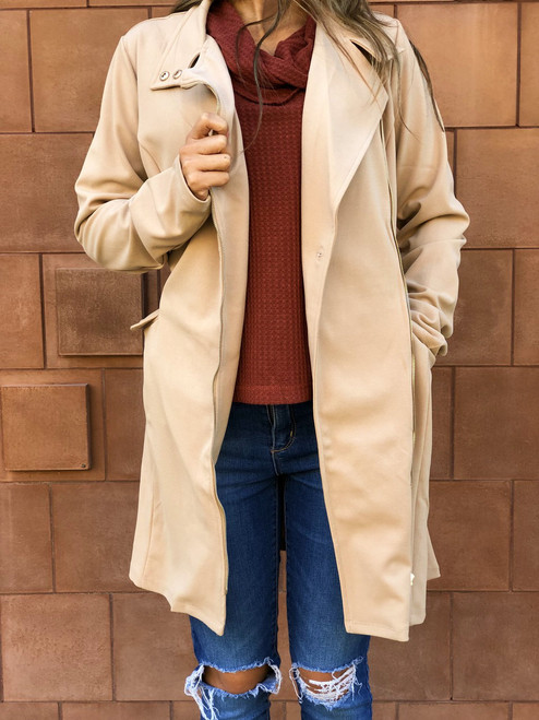 Rosy Belted Zip Up Jacket - Dark Taupe