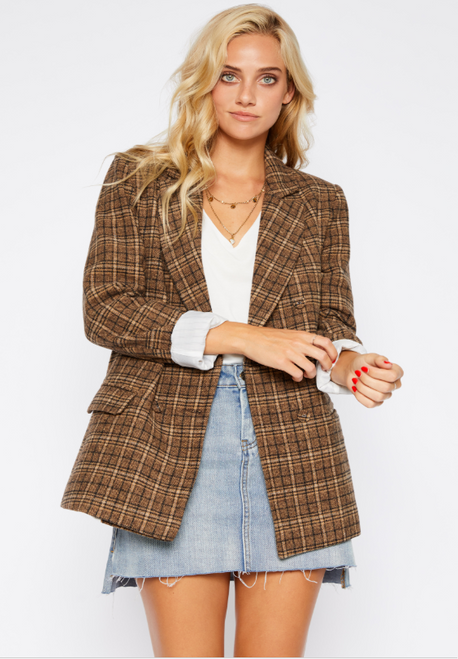 Plaid Boyfriend Blazer - Brown