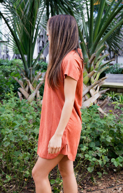 Remember Me Suede Tee Dress - Masala Red