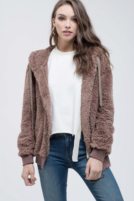 Teddy Zip Up Jacket - Mocha