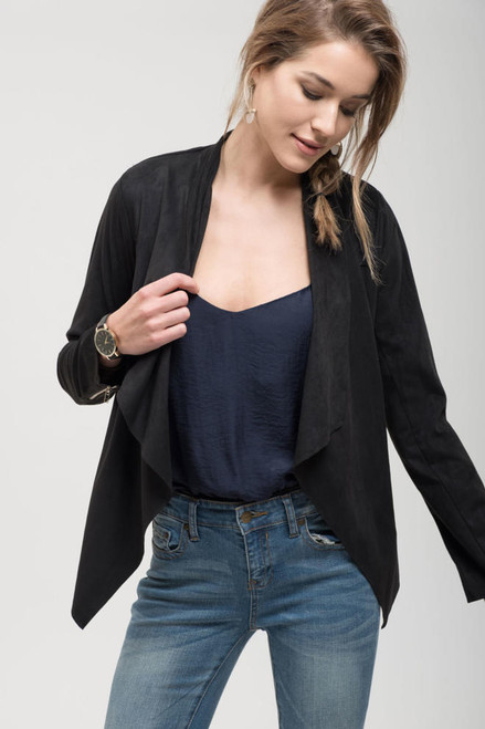 Suede Drape Jacket - Black
