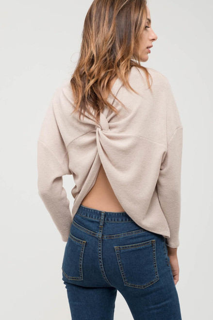 Back Twist Top - Taupe