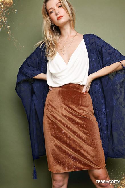 Beth Velvet Sparkle Skirt - Terracotta