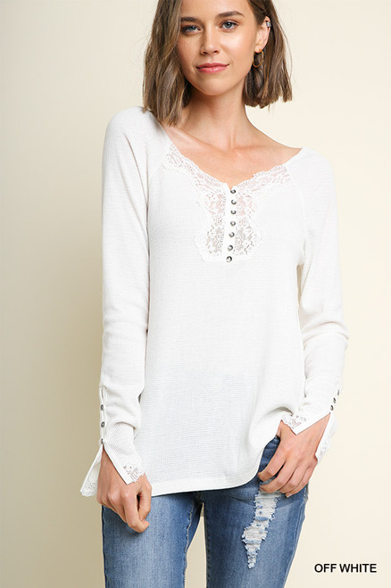 Mary Long Sleeve Waffle knit Top - Off White