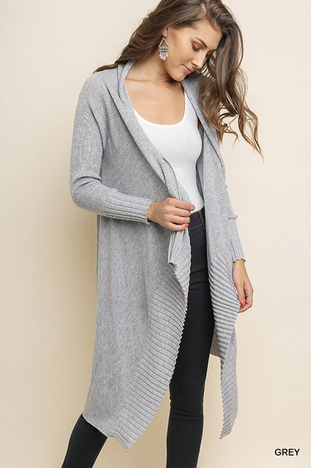 Julia Open Long Knit Cardigan - Grey