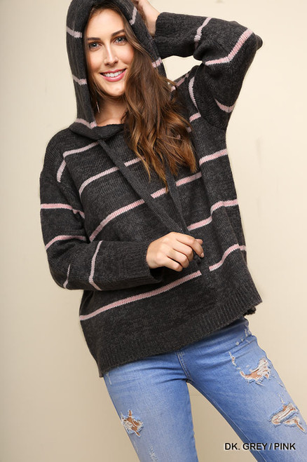 Striped Knit Hooded Sweater - Grey/Pink