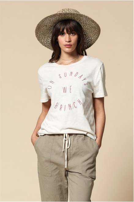 On Sundays We Brunch Tee - Clay White
