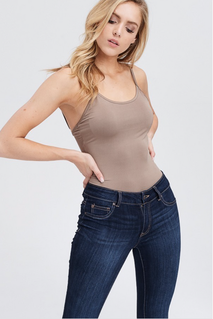 Tina Shoulder Strap Bodysuit - Black/Brown