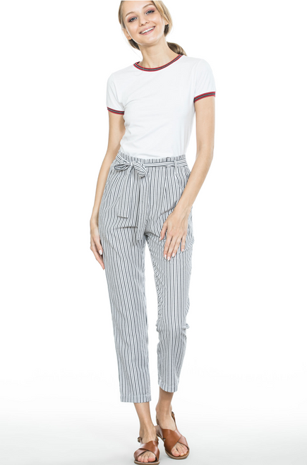 Spring Striped Long Pants - White/Black