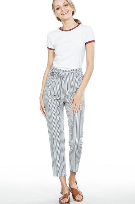 Spring Striped Long Pants - White/Black