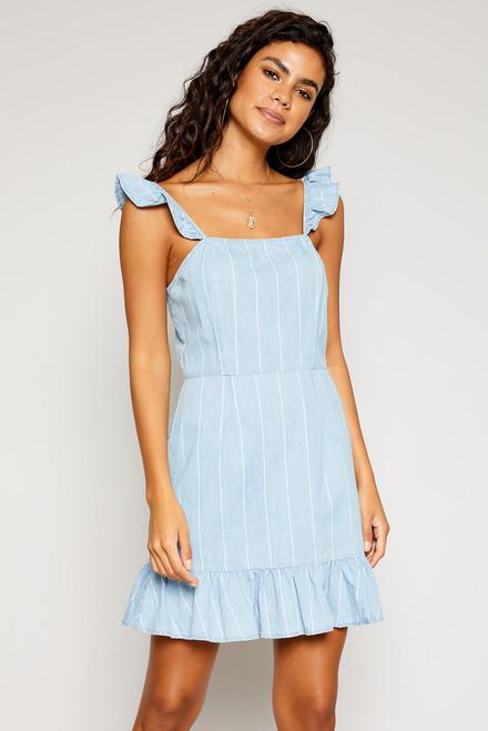 Ella Strap Ruffle Dress - Light Denim