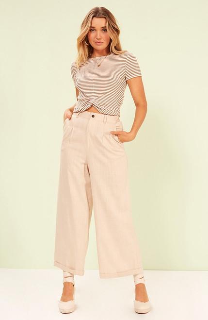 Blair Twist Front Tee - Rust/White Stripes