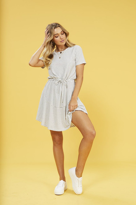 River Skater Dress - White/Navy Blue