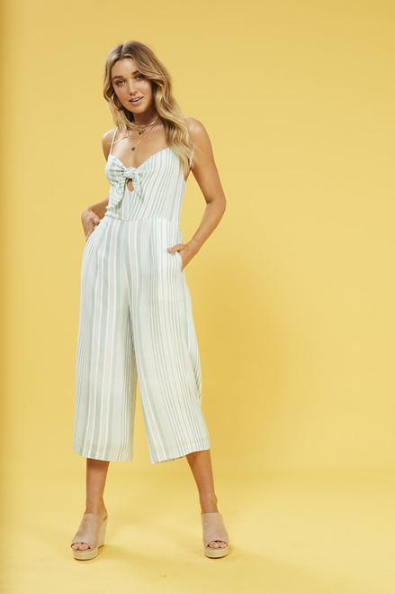 Low Tide Tie Front Jumpsuit - Sage