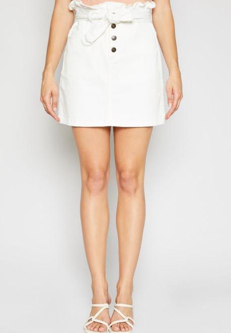 Jill High Waisted Tie Skirt - White