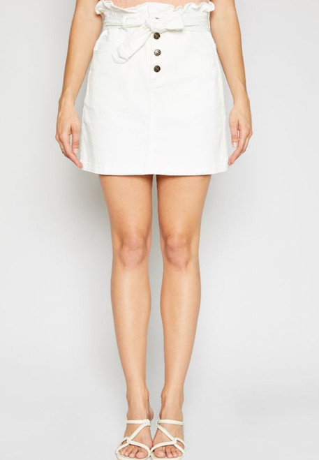 Jill High Waisted Tie Skirt - White