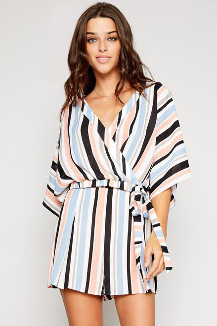Natalie Stripe Wrap Top - Multi