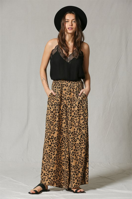 Tori High Waist Leopard Pants - Brown