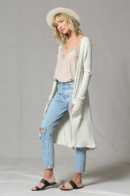Laura Long Sleeve Duster - Taupe