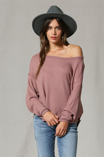 Monica Thermal Pullover Sweater - Mauve