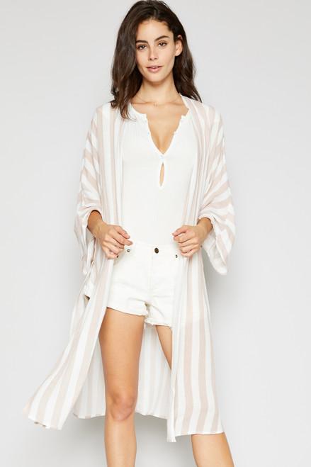 Monica Striped Kimono - Rose Tan