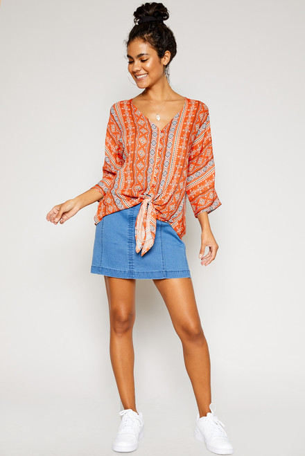 Sunny Button Down Blouse - Coral
