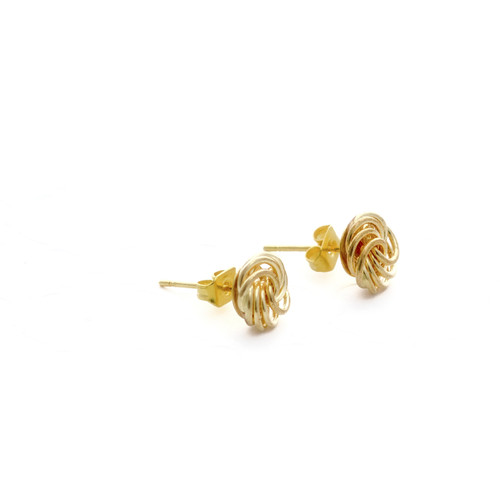 These classic gold love knots makes any outfit come together. These are the perfect accessory to add to a business outfit or class any date night outfit up with these golden studs.  A gold plated 18mm in diameter - 8mm tall love knot charmed studded earrings