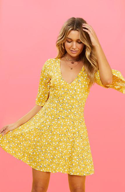 Summer Daisy Tea Dress - Golden Yellow