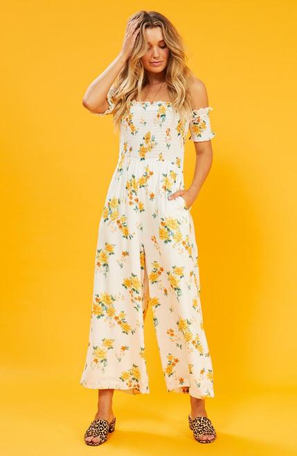 Lemon Bloom Jumpsuit - White