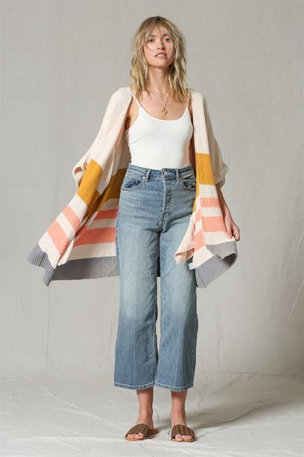 Color Block Striped Sweater Kimono - Ivory Multi