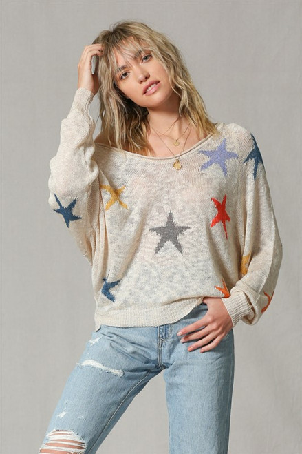 Knit Multi Color Star Pull Over Sweater