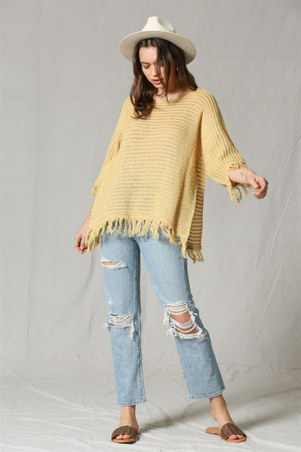 Rosie knitted tunic with fringe bottom - Mustard