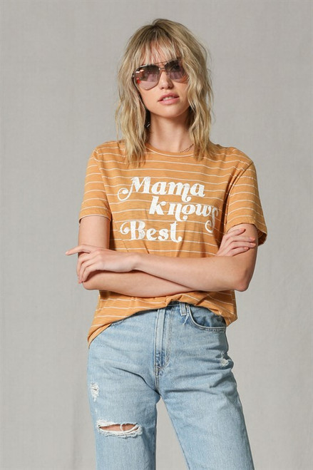 "Best selling mama knows best top back in stock. Only few left!   Soft Cotton fabric, fits true to size. Model is wearing size Small and is 5'7""  It's a very versatile piece that can be styled in many different ways.   Made in USA"