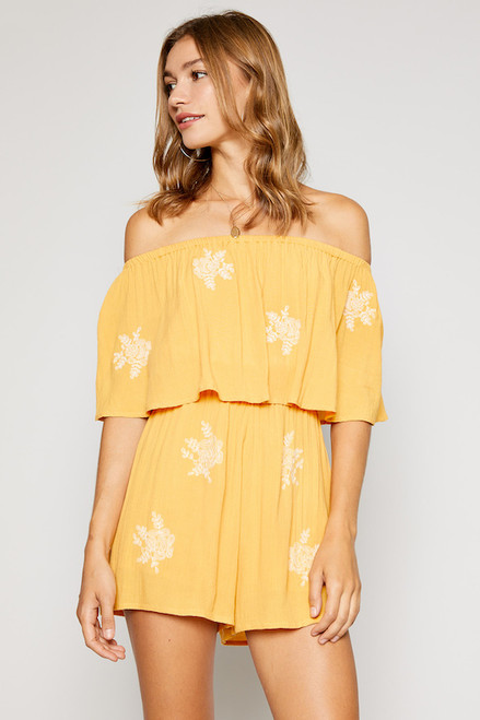 Rising Sun Embroidered Romper - Mustard
